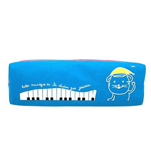 fablcrew Jungen Bleistift Fall Tasche für Make-up-Tasche Canvas Animal Cartoon Piano Tastatur Muster Tasche mit Reißverschluss 19* 6* 5cm blau