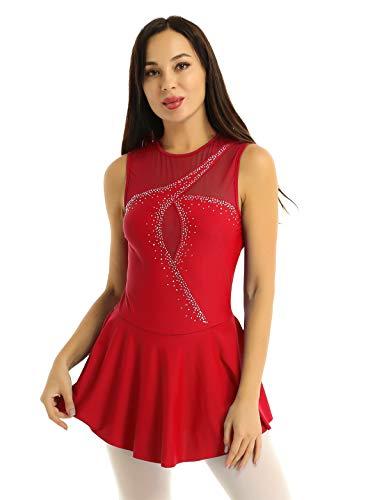 iixpin Maillot de Patinaje Artística para Mujer Vestido de Danza Moderna sin Mangas con Lentejuelas Brillante Falda con Bragas Traje Bailarina Rojo Small