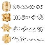Yideng 20 Piezas Mini Rompecabezas de Metal y Juego de Rompecabezas de Madera IQ Toys IQ Test Mind Game Toys 3D Metal Wire Puzzles Truco de Magia para niños, Estudiantes y Adultos (20 Piezas)