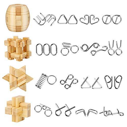 Yideng 20 Piezas Mini Rompecabezas de Metal y Juego de Rompecabezas de Madera IQ Toys IQ Test Mind Game Toys 3D Metal Wire Puzzles Truco de Magia para niños, Estudiantes y Adultos