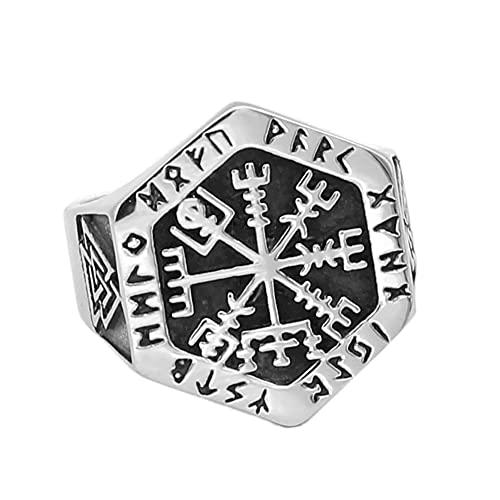 DFWY Nordic Men Viking Vegvisir Compass Rune Ring, Acero Inoxidable Hexagonal Odin Símbolo Valknut Anillo,Vintage Hip Hop Pagan Amuleto Joyería para Mujeres Tamaño 9-13 (Size : 13)