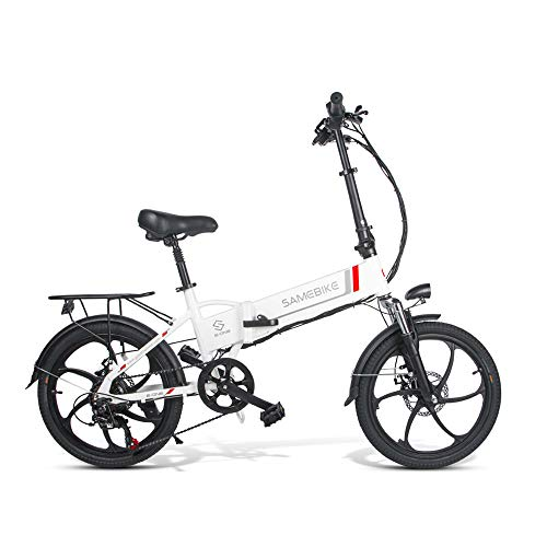 Samebike 20LVXD30 Electric Bike 26'Aluminum alloy suspension mountain frame(Bright White)