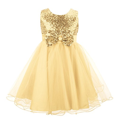 Acecharming Sequin Princess Dress, Sleeveless Tutu Tulle Birthday Party Dress with Bow Tie for Little Girls