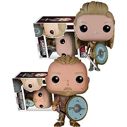 2 Unids / Set Película Vikingos Figuras Pop Ragnar Lothbrok # 177 Lagertha # 178 Figura De Acción De Vinilo Colección De PVC Modelo Juguetes para Niños Regalos De Cumpleaños con Caja De 10Cm