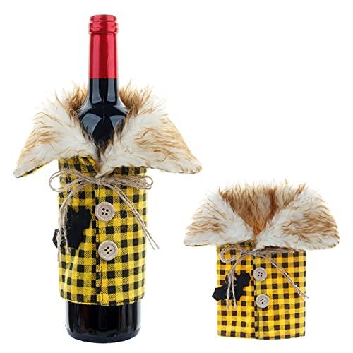 Cubierta de botella de vino para suéter de Halloween, vestido de botella de vino, bolsas de regalo reutilizables para decoración de fiesta de Navidad (amarillo)