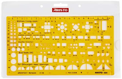 Aristo Architektur Kombi Schablone 2 (1:100, Symbole für Grundrissdarstellung, formstabiler PET-Kunststoff) orange-transparent