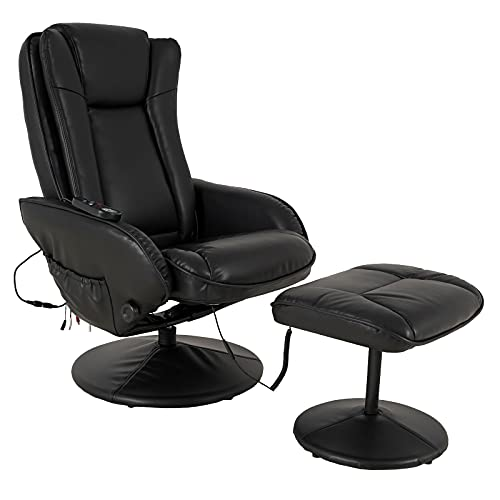 JC Home Drammen Massaging Leather Recliner and Ottoman with Leather-Wrapped Base, Obsidian Black