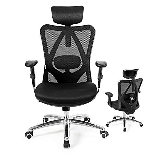 Giantex Ergonomic Office Chair, Mesh Office Chair with Adjustable Headrest, Tilt-Down Backrest Mesh Adjustable High Back Office Chair, Breathable Computer Desk Chair, Mesh Back Office Chair