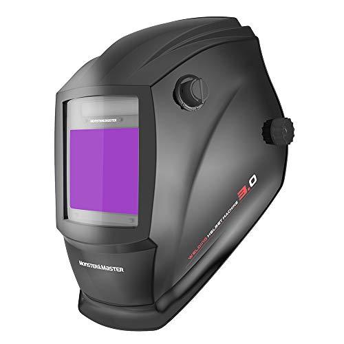 Monster & Master Large Viewing Screen Auto Darkening Welding Helmet, 4 Arc Sensor Wide Shade, MM-WH-001