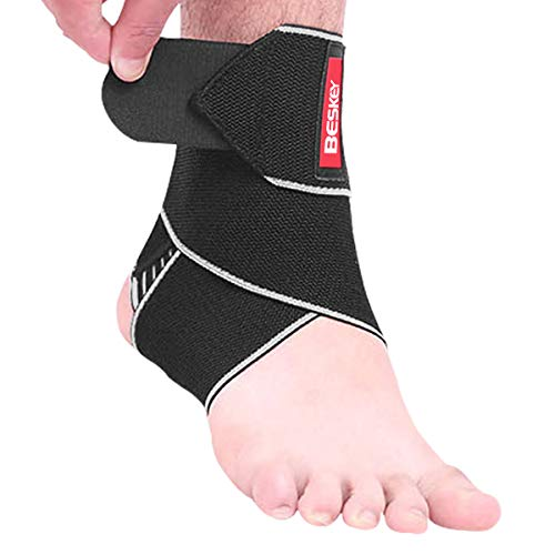 Beskey Ankle Support Brace Adjustable Breathable Elastic Nylon Material 1 Size Fits all Use for Sports