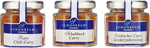 Schuhbeck Gewürze Curry Variationen 3er Set erotischer-, Schuhbeck- & roter Chili-Curry für Fleisch, Fisch, Marinaden & Gemüse, ideal als Geschenk, Menge 3 x 18 g