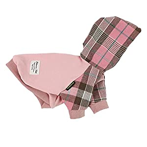 Fitwarm 100% Cotton Girl Plaid Dog Clothes Lightweight Puppy Hoodie Pet Sweatshirt Doggie Hooded Outfits Cat Apparel Pink XX-Large