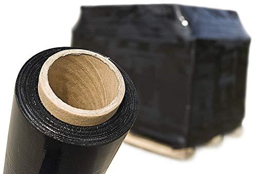 SebaPack Stretchfolie schwarz 430mm x 600m Wickelfolie vorgedehnt 1 Rolle Palettenfolie Handstretchfolie
