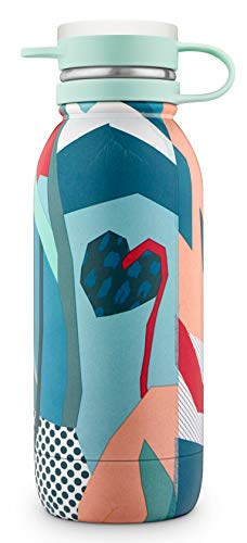 Ello Damen Vacuum Insulated Stainless Steel Water Bottle with Leak-Proof Lid, 20 oz, Yucca Floral