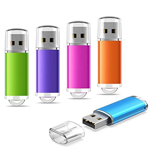 KEXIN USB Flash Drive 4GB 5 Pack USB 2.0 Memory Stick Cap Design USB Drive...