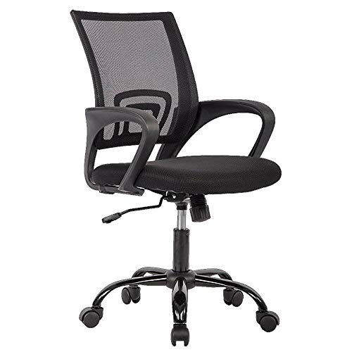 Office Chair Ergonomic Desk Chair Mesh Computer Chair Lumbar Support Modern Executive Adjustable Stool Rolling Swivel Chair for Back Pain Black