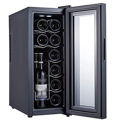 JLKDF Enfriador de Vino de 12 Botellas, refrigerador termoeléctrico para Bodega, refrigerador de Vino de Humedad Constante de encimera pequeña, Control Digital, Puerta de Vidrio, Negro,