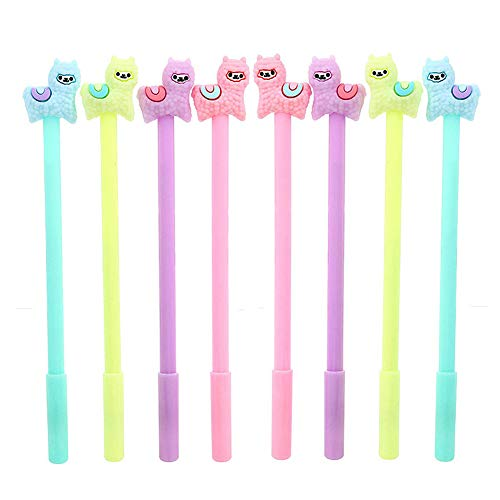 Cute Colorful 8Pcs Llama Pen with Gel Ink
