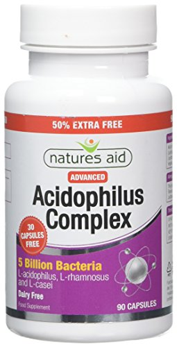 Natures Aid Acidophilus Complex, 5 Billion Bacteria, 90 Capsules (Lactobacillus Acidophilus, Lactobacillus Rhamnosus, Lactobacillus Casei, Good Bacteria, Shelf Stable, Vegan Society Approved)