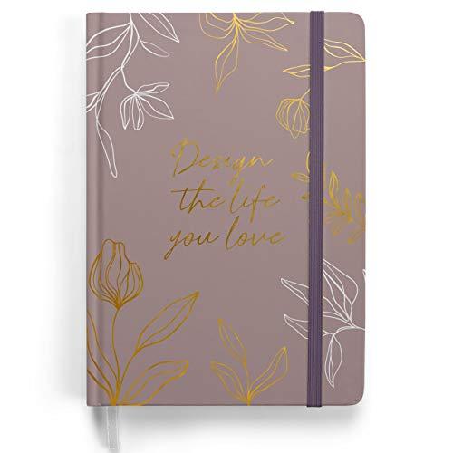 Premium Bullet Journal - Design Lila - Notizbuch A5 gepunktet   192 Seiten dickes 120g/m² dotted Papier   mit Punkteraster, Dreieckstasche, Anleitung und mehr