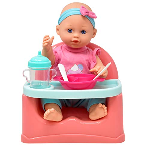 Dolls Baby Feeding Set, 14 Inch, Booster Seat High Chair Feeding Table with Food Tray, Bib, Bottles and Pretend Play Feeding Accessories for Kids and Toddlers