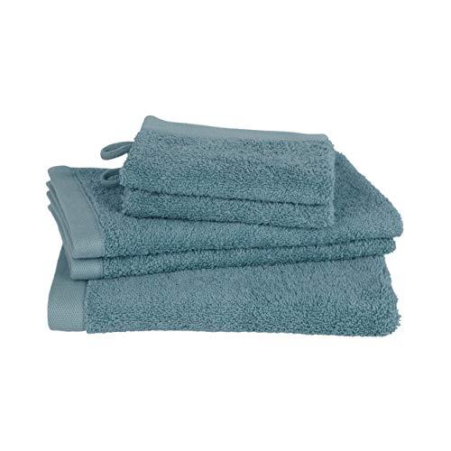 Clarysse Juego de 5 toallas de baño, 100% algodón peinado, calidad de hotel, marca belga, 500 g/m2, color azul