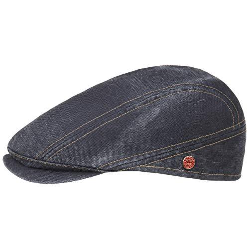 Mayser Delian UV-Schutz Flatcap Baumwollcap Schirmmütze Schiebermütze Sommercap Leinencap (60 cm - Denim)