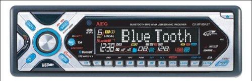 AEG CS MP 850 BT CD/ MP3/ WMA Autoradio mit RDS, USB-Anschluss, Bluetooth-Freisprechfunktion, Lenkradfernbedienung schwarz/Silber