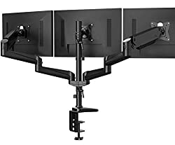 Triple Monitor Stand - Full Motion Articulating Aluminum Gas Spring Monitor Mount by Huanuo
