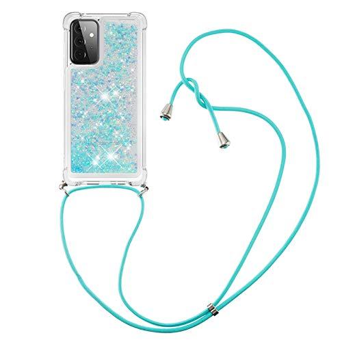 HülleLover Handykette Handyhülle für Samsung A72 5G, Glitzer Flüssig Bewegende Treibsand Transparent Silikon Hülle mit Kordel zum Umhängen Necklace Hülle Band für Samsung Galaxy A72 5G, Silber Blau