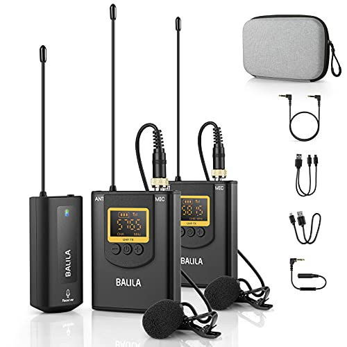 Wireless Lavalier Microphone for iPhone Android Smartphone Camera- UHF Dual...