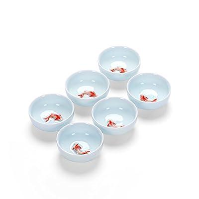 Emousport 6 pcs/set Chinese Ceramic Tea Cup Ice Cracked Glaze Cup Kung Fu teaset Small Porcelain Tea Bowl Teacup Tea Accessories Drinkware (Type2)