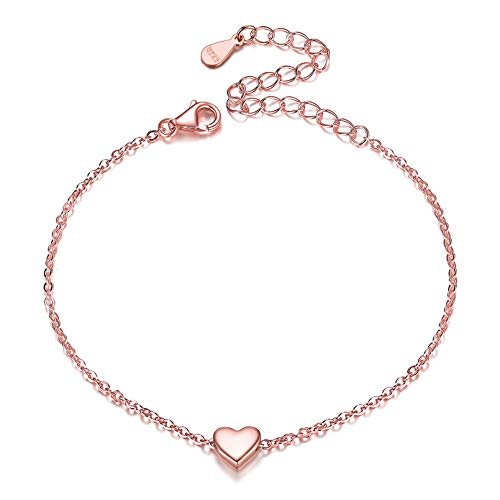 ChicSilver Oro Rosa Rosado Plata de Ley 925 Accesorios Decorativos de Manos Pulsera de Cadena Fina Extensible Regalo Maravilloso Mujeres Muchachas Niñas