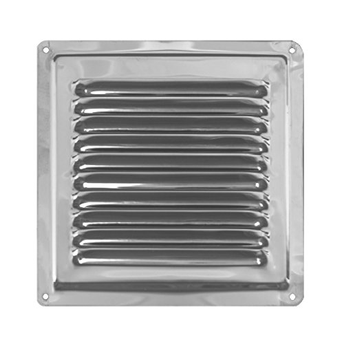Rejilla de Ventilación de Aire Hecha de Acero Inoxidable No Magnético de Alta Calidad AISI 304, Rejilla de Ventilación Exterior. (18 x 18 cm)