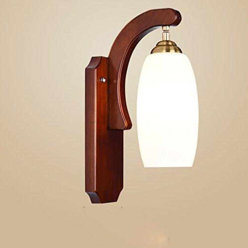 Luminaire Applique Murale En Bois Massif Chinois Creux Sculpté LED Chambre Chevet Simple Phares (Couleur : Rubber wood)