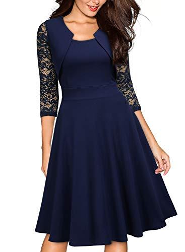 Miusol Casual Encaje Contraste Slim Vestido Corto para Mujer Nuevo Azul Large