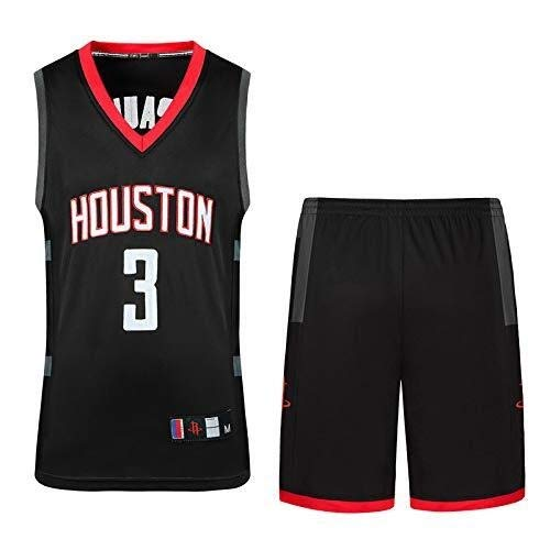 ASSD Juego de camisetas de baloncesto para hombre, diseño de la NBA Houston Rockets 3# Paul Basketball Uniforme de verano bordado, camisa y chaleco corto (talla XS)