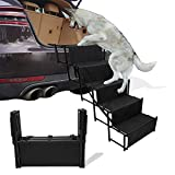 maxpama Widen 5 Steps Folding Dog Car Steps for Large Dog, Portable Pet Stairs with Increased Nonslip Surface for High Beds, Trucks, Cars and SUV, Lightweight Pet Ladder Ramp Support Up to 170 Lbs
