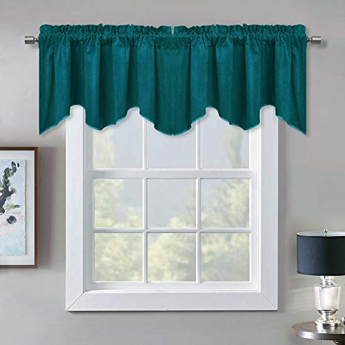 StangH Decoration Scalloped Velvet Curtain Valance - Premium Thick Wave-Shaped Small Window Curtain Tier, Matching with Velvet Drapes for Living Room / Bar, Teal, 52 x 18 inch, 1 Panel