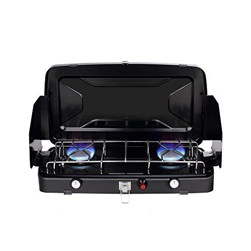 Camplux JK-8620 Tragbar 2 Brenner Campingkocher Outdoor, Faltbarer Campingherde 2,4 kW, Kompakter Butan/Propan Gaskocher mit Windschutz, 30/37mbar