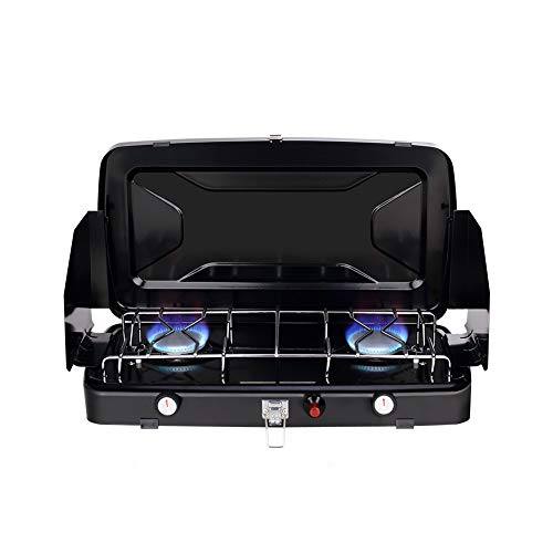 Camplux JK-8620 - Estufa portátil de 2 quemadores de camping, plegable al aire libre, 2,4 kW, cocina de gas butano/propano compacta con parabrisas