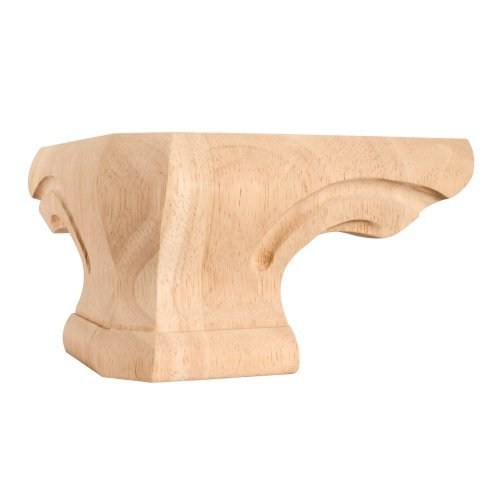 Set Of 4- Rounded Pedestal Foot Corner 6-3/4 x 6-3/4 x 4 by Wood Cabinet/Furniture Feet
