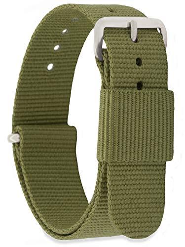 MOMENTO Damen Herren NATO Nylon Ersatz Uhren-Armband Strap mit Edelstahl-Schliesse in Silber und Nylon-Armband in Grün (Army) 14mm