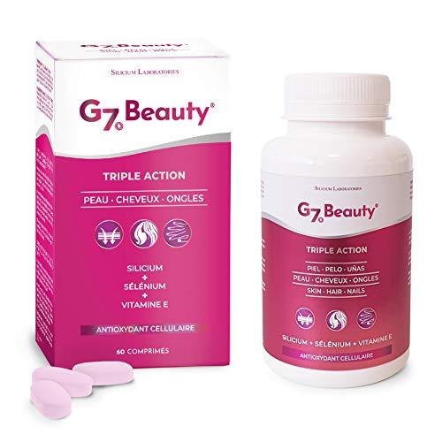 SILICIUM G7 BEAUTY | Vitaminas Para Piel, Crecimiento del Cabello y Endurecedor de Uñas | Multivitaminas Con Vitamina E, Silicio Orgánico y Selenio | Para Mujer y Hombre