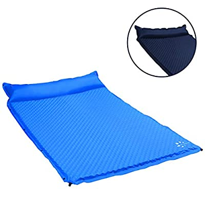 YOUKADA Self-Inflating Sleeping Pad for Camping 2 Person Sleeping Pad Double Foam Pad Mat for Backpacking (Dark Blue, Large)