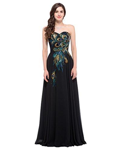 GRACE KARIN Abschlussballkleid lang Glitzer Abendkleid festlich Chiffon Kleid schwarz Abiballkleid 58 CL675-1