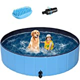 POTBY 63'' Foldable Pet Swimming Pool, Portable Collapsible Dog Bathing Tub, Round PVC Leakproof Water Pool with Brush, Water Pipe Connector Indoor Outdoor Playing Wash Pond for Puppy, Dogs, Cats