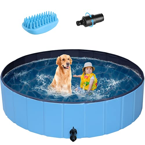 POTBY Foldable Pet Swimming Pool, Portable Collapsible Dog Bathing Tub, Round PVC Leakproof Water Pool with Brush, Indoor Outdoor Playing Wash Pond for Puppy, Dogs, Cats