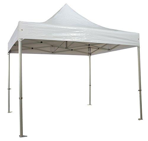 Pro-Mob Tente Pliante en Alu 50mm 3x3m avec Toit en 520g/m2 PVC Blanc