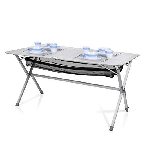 Campart Campingtisch/ Reisetisch - 140 x 80 cm wetterbeständige Rolltischfläche aus Aluminium/ mit Verstaunetz und Transporttasche, TA-0806